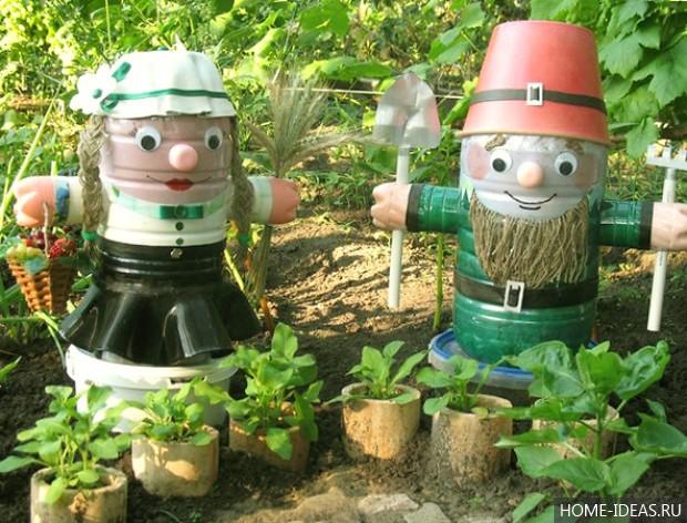 Поделки и пластиковых бутылок для сада своими руками
