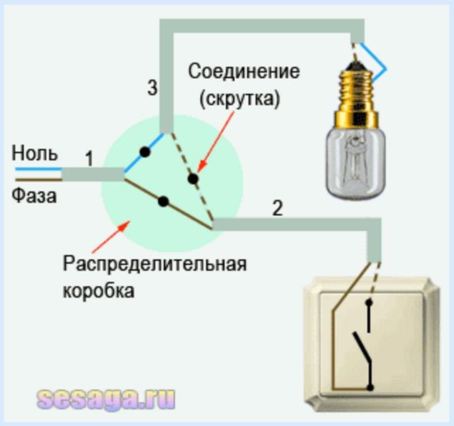 Как подключить лампу через выключатель схема подключения