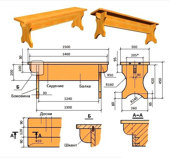 Скамейка деревянная своими руками схема